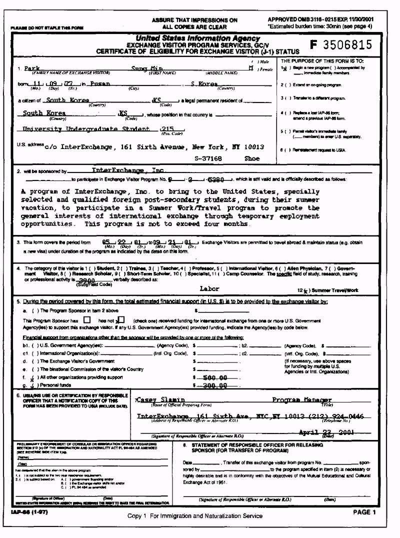 IMPORTANT IMMIGRATION DOCUMENTS